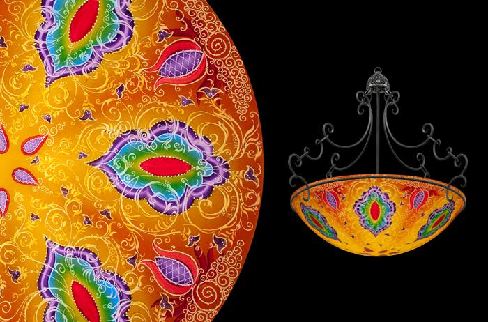 Hand painted glass chandeliers artwork lighting ulla darni kaz orange chandelier aloadofball Images
