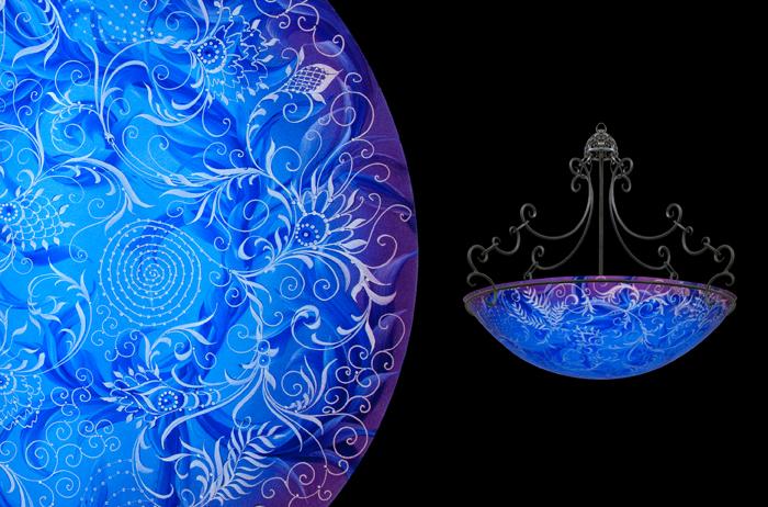 Hand painted glass chandeliers artwork lighting ulla darni swing blue chandelier aloadofball Images