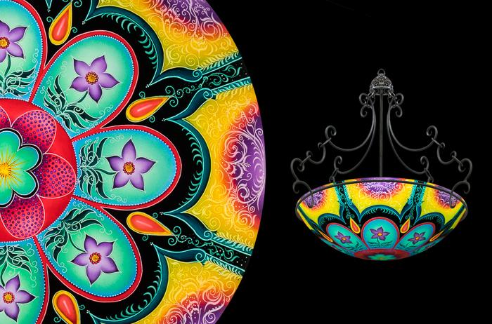 Hand painted glass chandeliers artwork lighting ulla darni kashmir chandelier aloadofball Images
