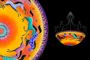 Hand painted glass chandeliers artwork lighting ulla darni horses sunset chandelier aloadofball Images