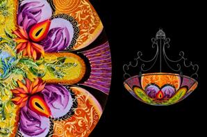 Hand painted glass chandeliers artwork lighting ulla darni ibis purple chandelier aloadofball Images