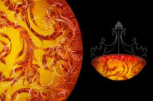 Hand painted glass chandeliers artwork lighting ulla darni swing red gold chandelier aloadofball Images