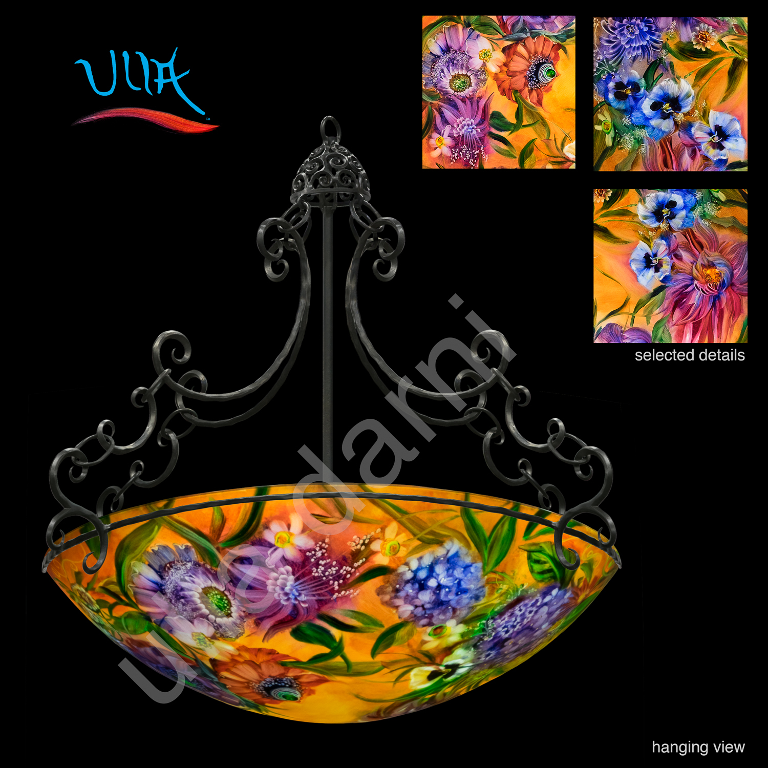 Decorative lighting reverse glass painted chandeliers ulla darni number one o six aloadofball Choice Image