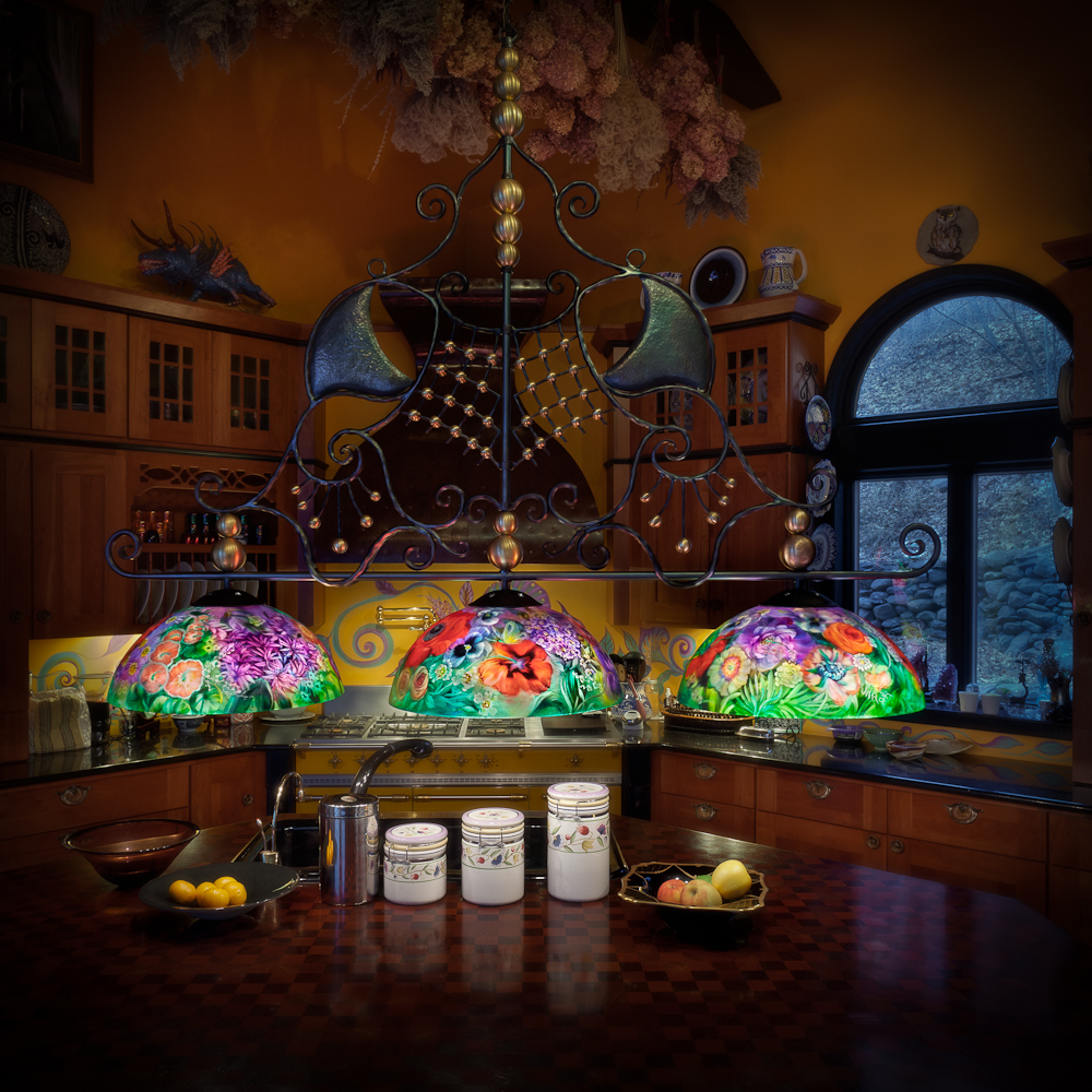 Glass art painting sculpture custom works ulla darni custom kitchen chandelier aloadofball Images